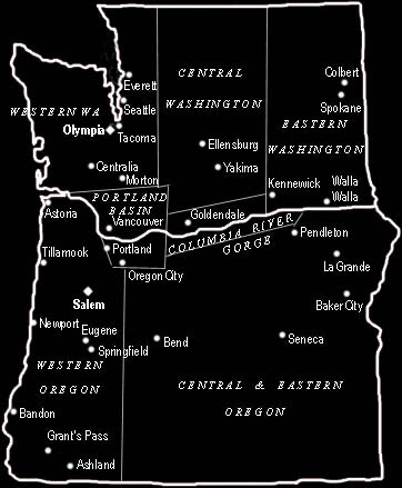 Map Of Washington And Oregon - Map of oregon and washington